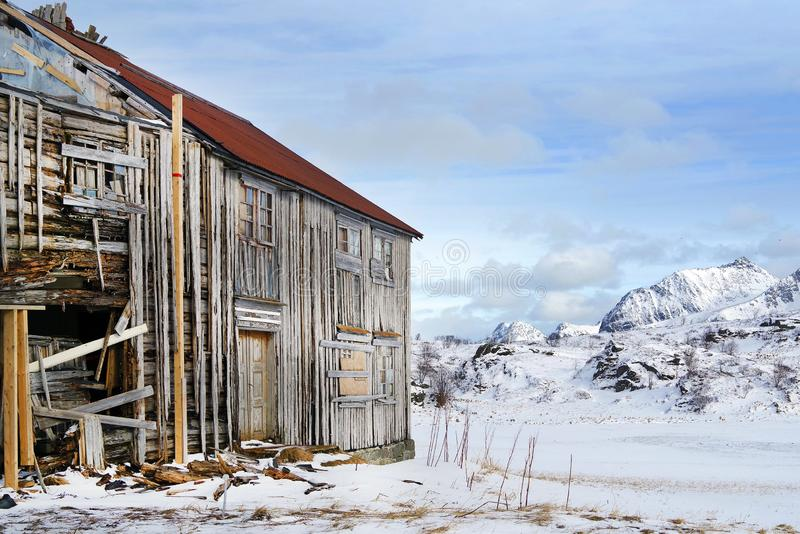 Old traditional fishermen cabin abandonned in Lofoten Archipelago. stock photography