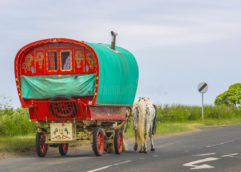 Old Traditional Gypsy Caravan stock photography
