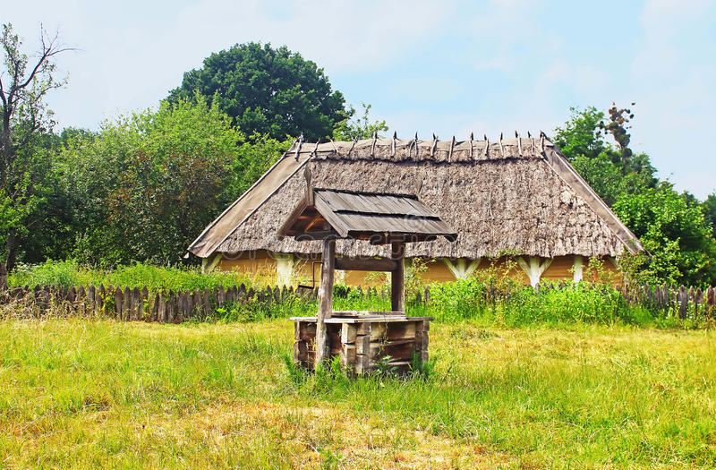 Old traditional house in Ukraine. In the summer stock image
