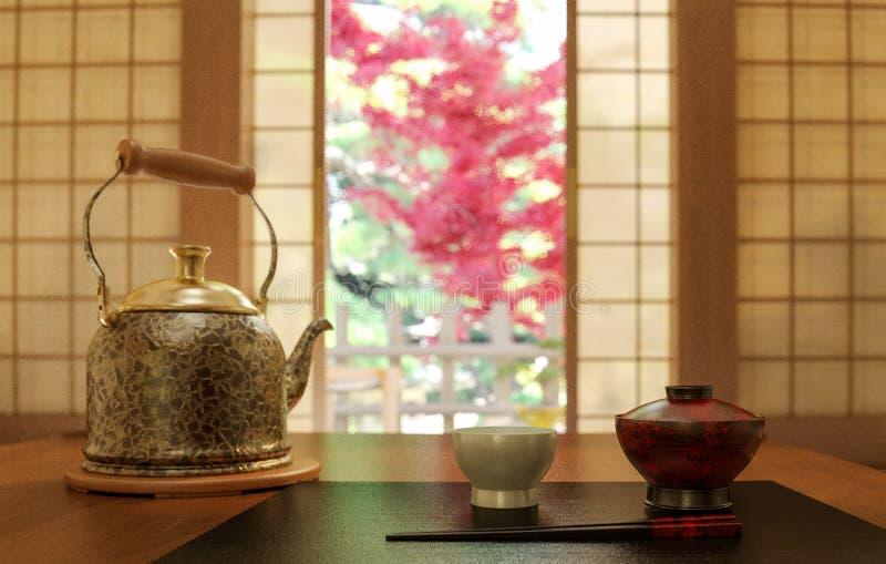 Old traditional japan tea table in 3d render vector illustration