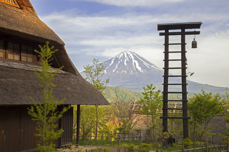 Old traditional Japanese Houses and Mount Fuji royalty free stock photo