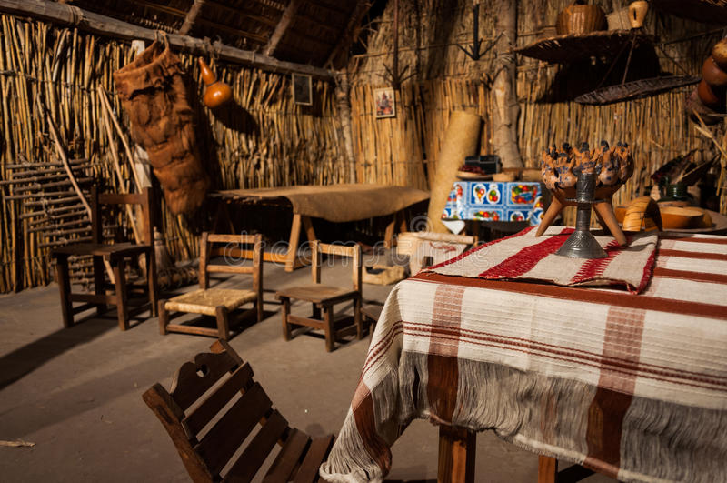 Old traditional Mexican Maya home stock photography