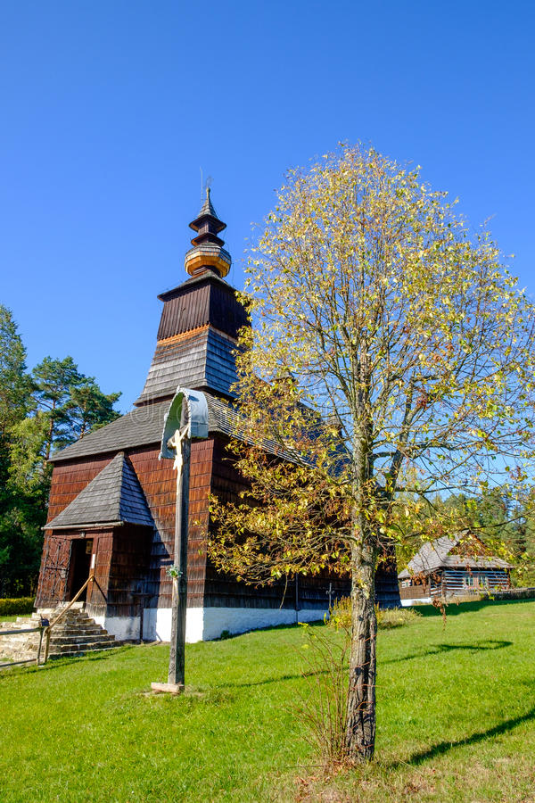Old traditional Slovak wooden church in Stara Lubovna, Slovakia stock images