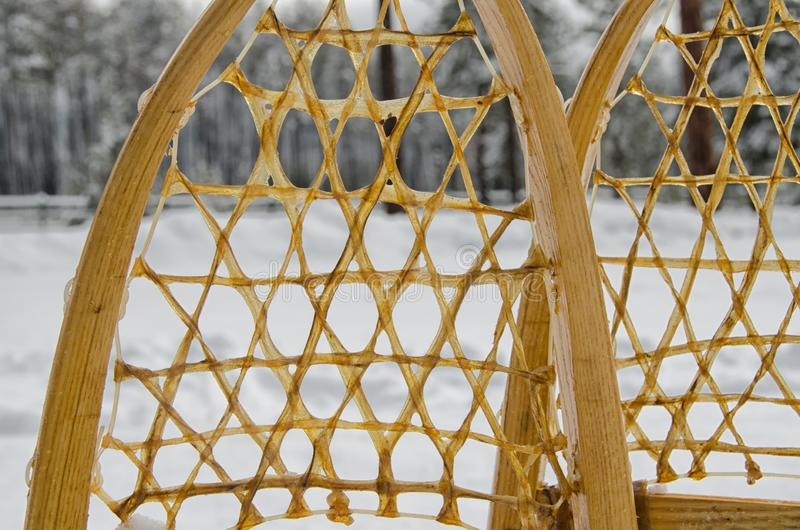 Old traditional snowshoes stock images
