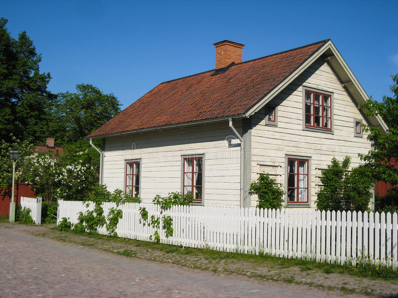 Old traditional swedish house. Linkoping. Sweden. An old typical swedish timber house in Gamla Linkoping Friluftsmuseet (Old Linkoping open-air museum royalty free stock photos