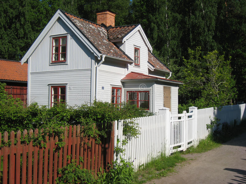 Old traditional swedish house. Linkoping. Sweden. An old typical swedish wooden house in Gamla Linkoping Friluftsmuseet (Old Linkoping open-air museum royalty free stock photo