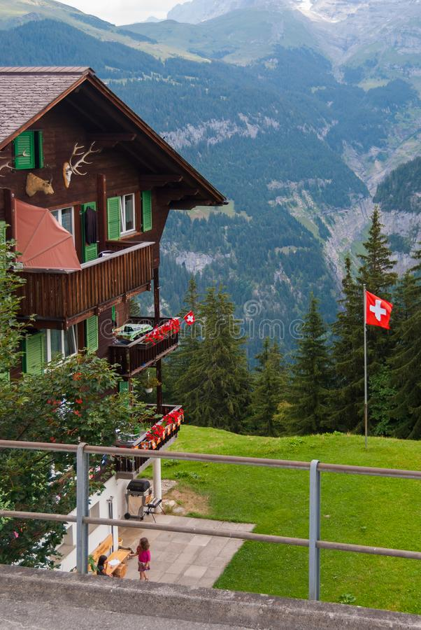 An old traditional Swiss Chalet in the famous Swiss ski resort of Murren stock photos