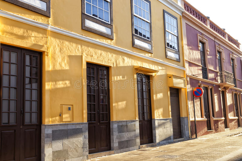 Old traditional town houses in La Laguna, Tenerife stock photos