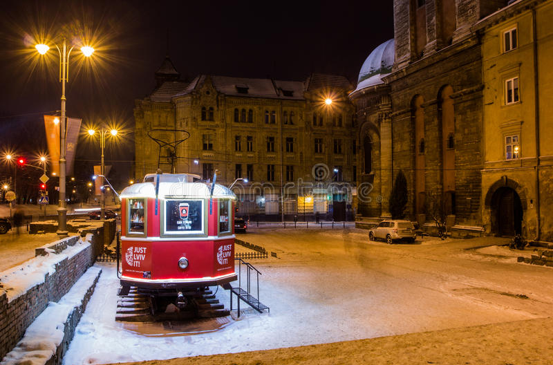 Old traditional tram in the city of Lviv at winter stock images