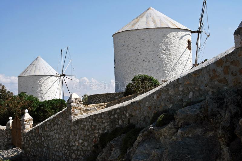 Old traditional windmills in Leros, Dodecanese islands, Greece. Old traditional windmills in the island of Leros, Dodecanese islands, Greece stock photo