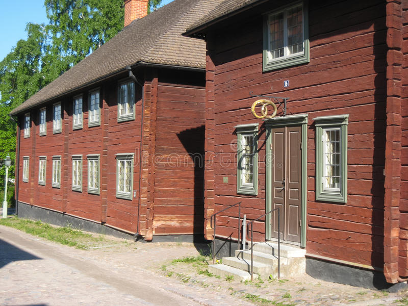 Old traditional wooden building. Linkoping. Sweden. An old typical swedish bakery in the foreground in Gamla Linkoping Friluftsmuseet (Old Linkoping open-air stock photos