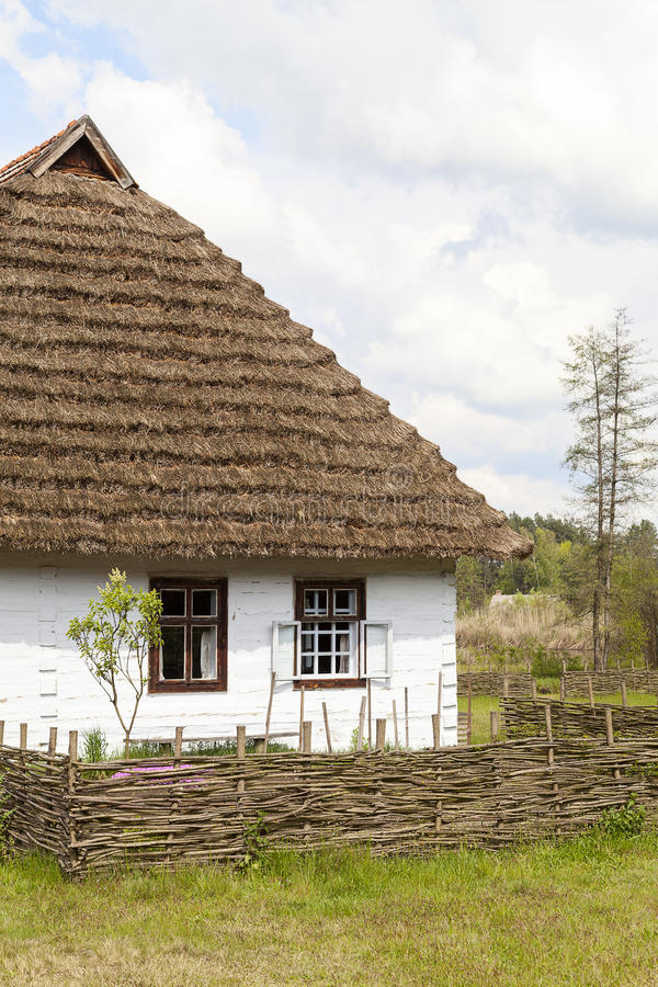 Old traditional wooden polish cottage, Kolbuszowa, Poland. Old traditional wooden polish cottage in open-air museum, Ethnographic Park, Kolbuszowa, Poland stock image