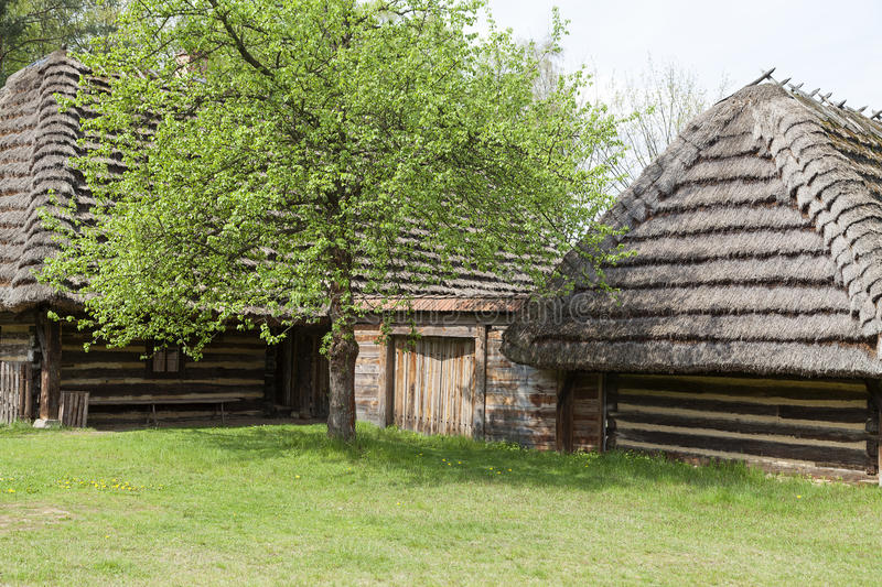 Old traditional wooden polish cottage in open-air museum,Kolbuszowa, Poland. Old traditional wooden polish cottage in open-air museum, Ethnographic Park royalty free stock photos