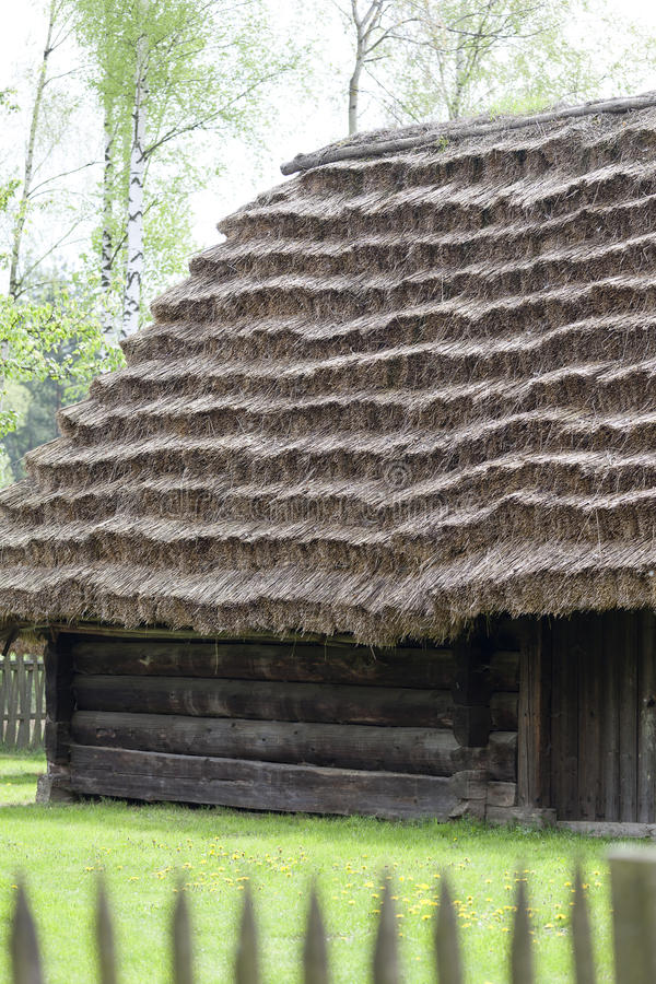 Old traditional wooden polish cottage in open-air museum, Kolbuszowa, Poland. Old traditional wooden polish cottage in open-air museum, Ethnographic Park stock photo