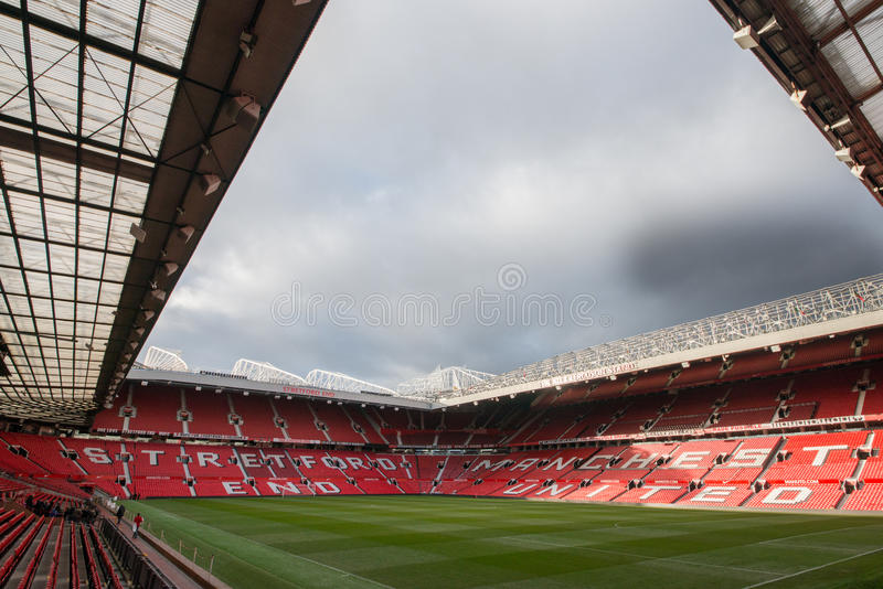 Old Trafford is home of Manchester United football club. MANCHESTER, ENGLAND - JANUARY 1, 2014 Old Trafford stadium on JANUARY 1, 2014 in Manchester, England royalty free stock image