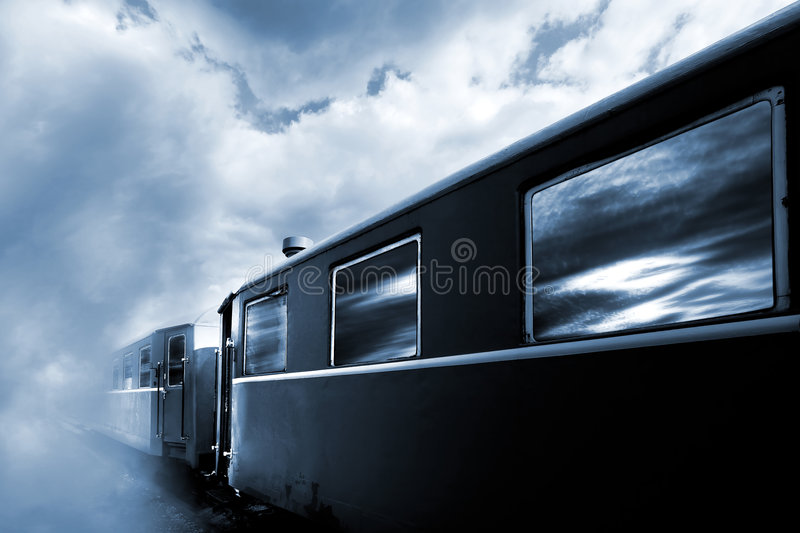Old train. Going to clouds royalty free stock images