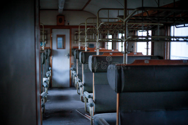Old train appartement. German railway seats royalty free stock photo