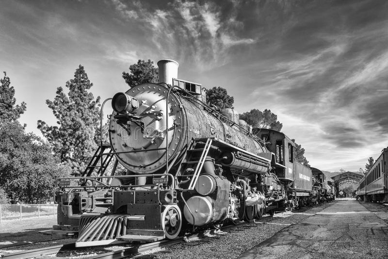 The Old Train in Black and White. A view of the old train in black and white stock photos