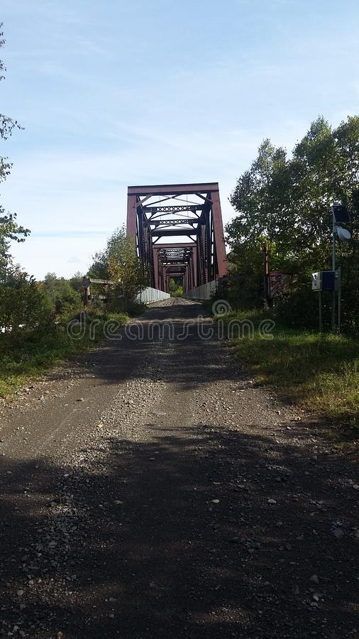 Old train bridge in the country stock image