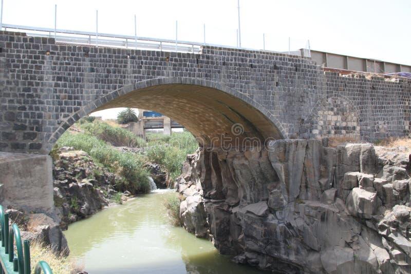 Old Train Bridge at The Island of Peace Park, Naharayim, Israel stock image