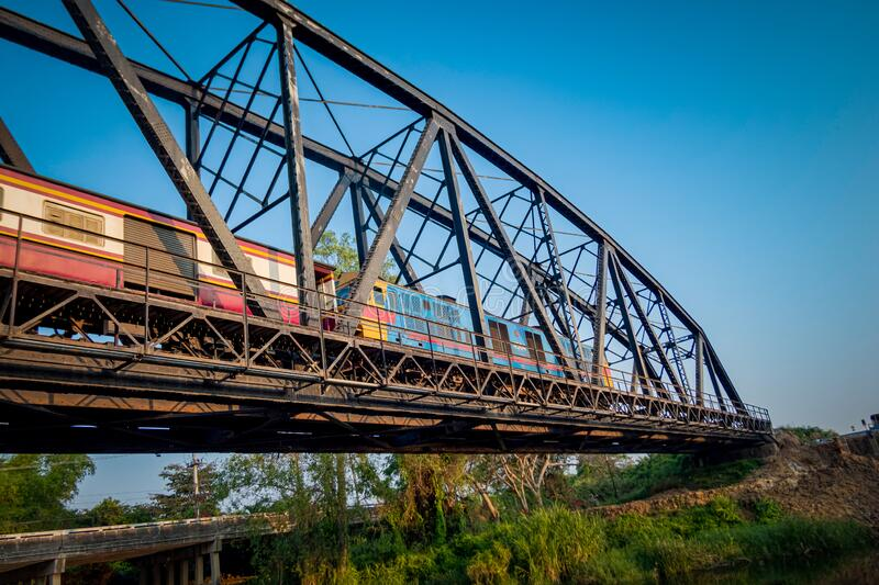 The old train on the old bridge royalty free stock image