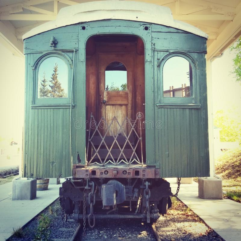 Old Train. Car at Pioneer Park in Fairbanks, Alaska royalty free stock image