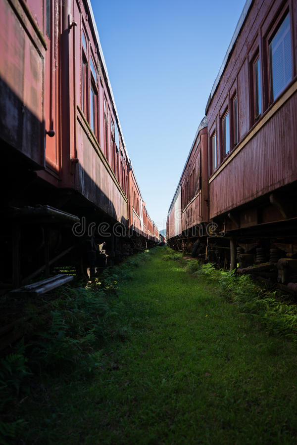 Between old train carriages royalty free stock photography
