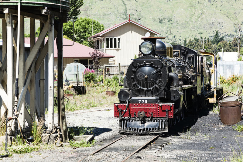 Old Train Engine. Perserved at a closed railway station in New Zealand stock photography