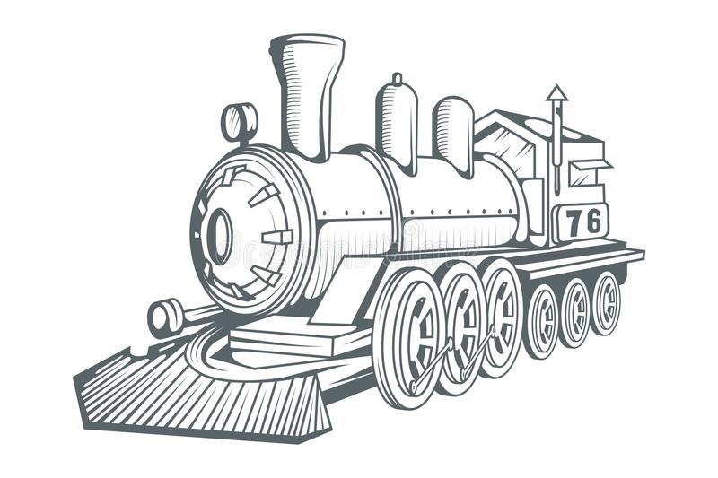 Old train logo. Locomotive drawing. Steam transport. royalty free illustration