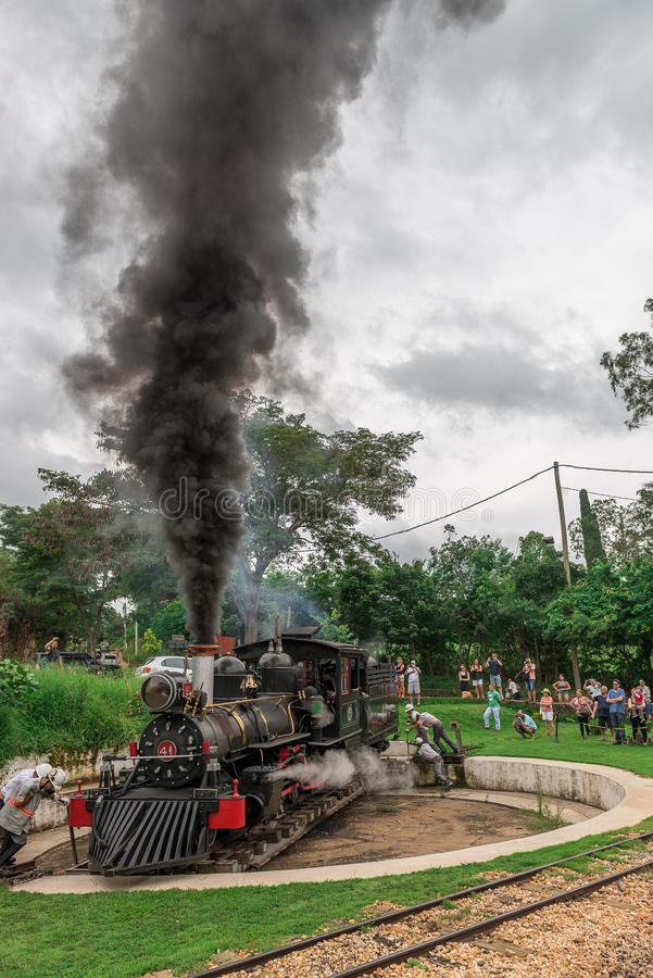 Old train (Maria Fumaca) in Tiradentes, a Colonial city stock photo