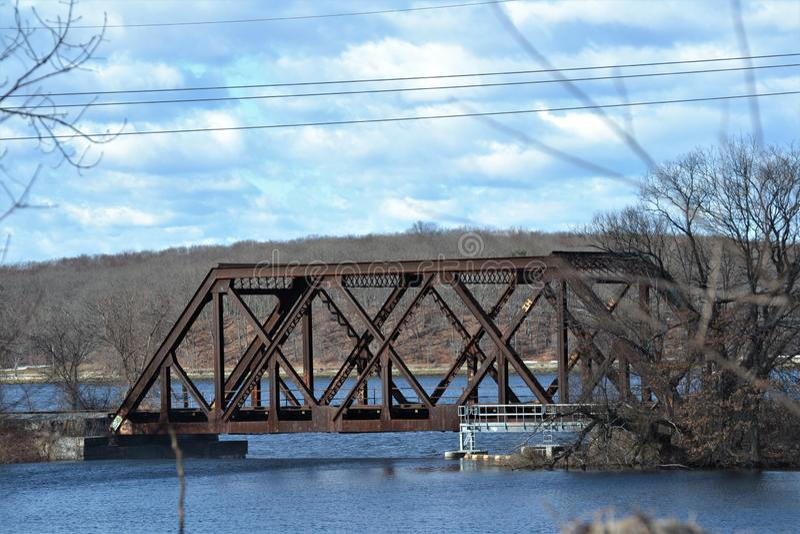 Old train railroad bridge providence. Ruin royalty free stock photography