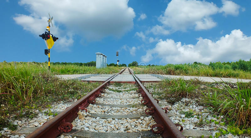 The old train Rails royalty free stock image