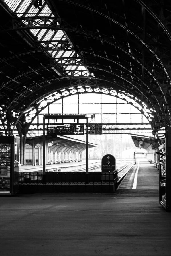 Old train station in black and white stock photos