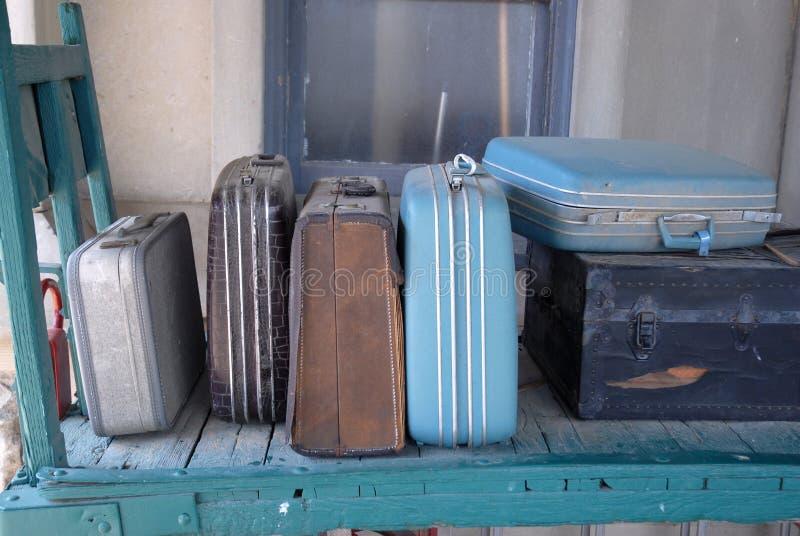 Old Train Station Luggage. Image taken some old luggage at an old train Station at French Lick royalty free stock photos