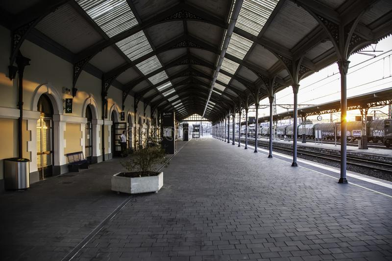 Old train station. Miranda, Spain, September 2016: - View of a sign saying  Railway Station, a train station in the historic town of Miranda, transport in Spain stock photos