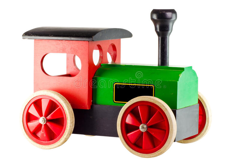 Old train toy. Old vintage wooden toy train on white background royalty free stock photos