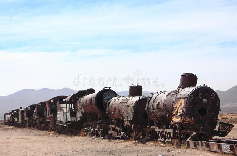 The old train at the train cemetary near Uyuni. Bolivia royalty free stock images