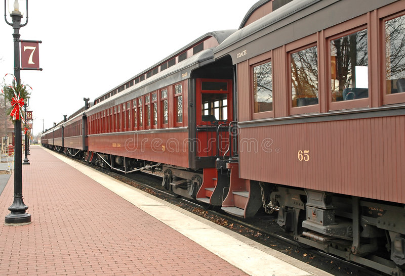 Old train at train station royalty free stock photo