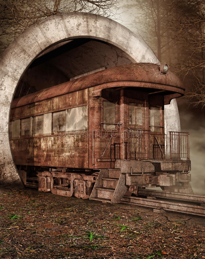 Old train in a tunnel. Old rusty train in a tunnel in the forest royalty free illustration