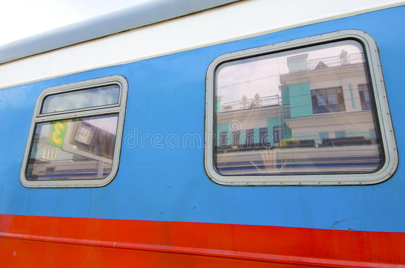 Old train wagon. Old wagon and windows in transmongolian train royalty free stock images