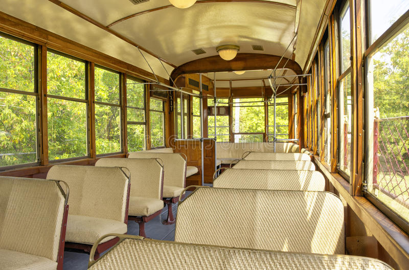 Old train wagon. Interior of old train wagon, sunny summer day stock photography