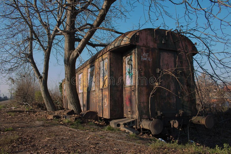OLD TRAIN WAGON / TRAIN WRECKS royalty free stock images