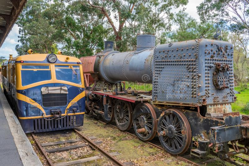 Old trains at Healesville station 2 royalty free stock image