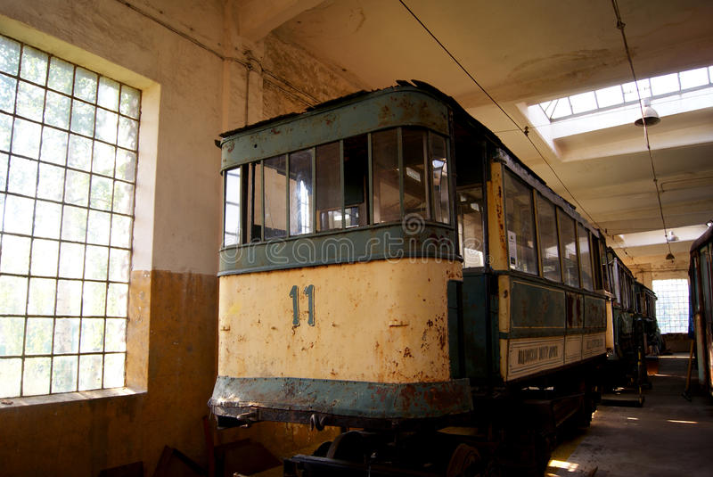 Old tram in depot royalty free stock image
