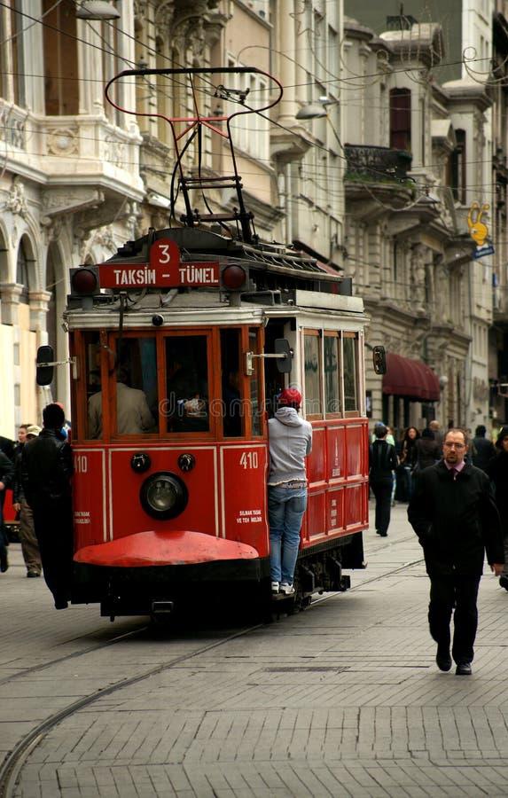Old tram on Istiklal Caddesi (Istanbul, Turkey). Old tram on Istiklal Caddesi in Istanbul (Turkey royalty free stock images