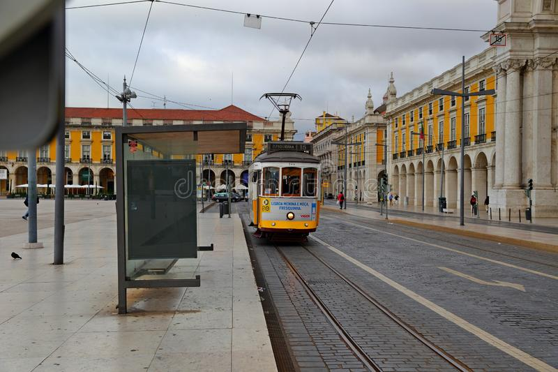 Old tram in the Praca do Comercio Commerce Square in Lisbon royalty free stock photos