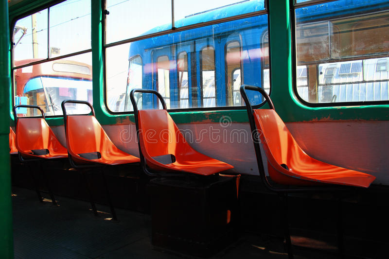 Old Tram Seats royalty free stock images