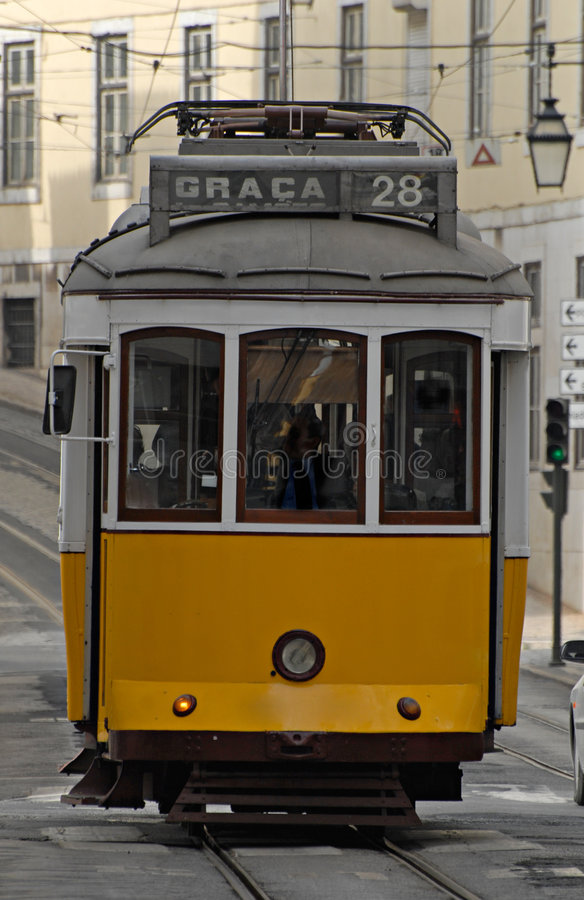 Old tram in a street of Lisbon. stock image