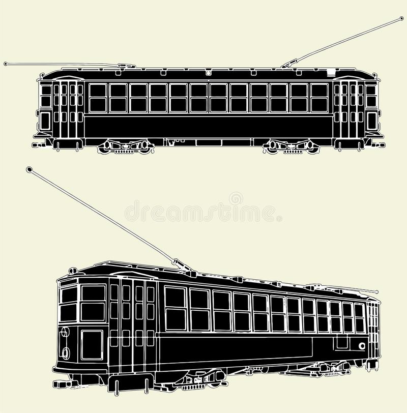 Download Old Tram Trolley Vector 01 stock vector. Image of road - 14436316