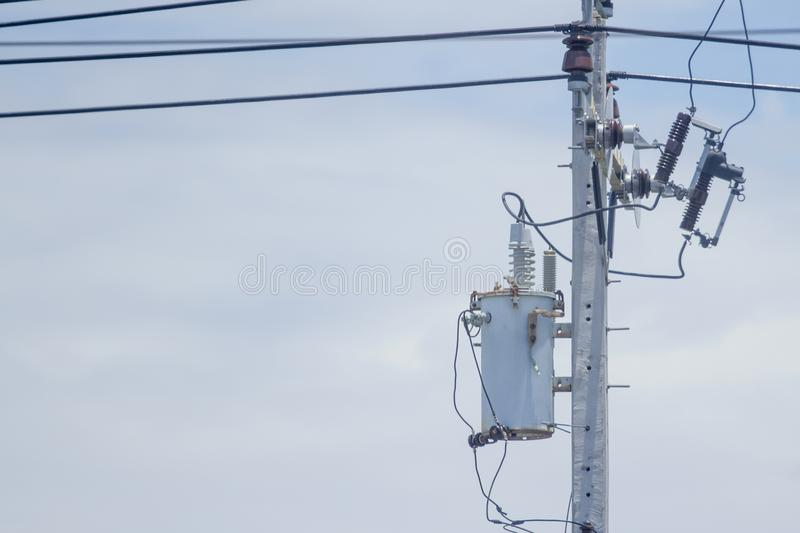 Old transformer Install at the power poles stock photos